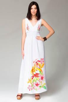 Длинное летнее платье с цветочным принтом на подоле VIAGGIO