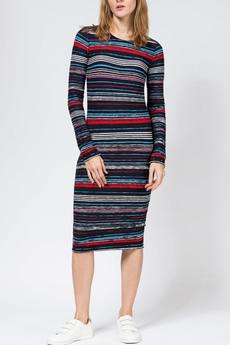 Трикотажное платье с рукавами в полоску TOM FARR